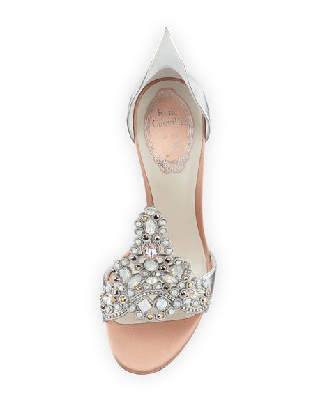 Image 3 of 3: Embroidered Crystal Metallic Pumps