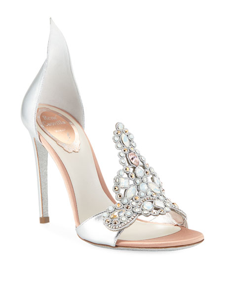 Image 1 of 3: Embroidered Crystal Metallic Pumps