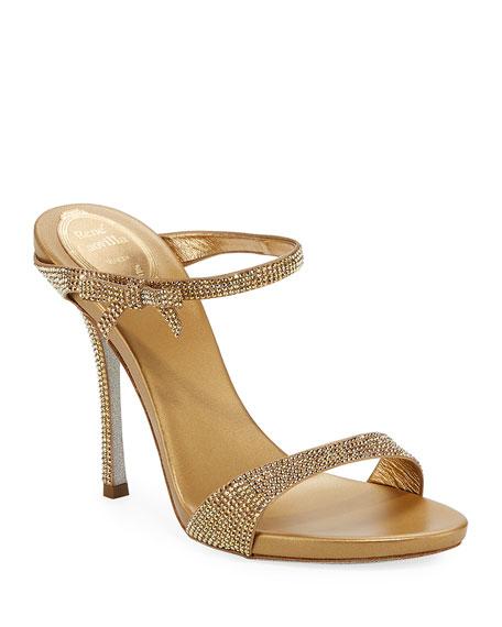 Rene Caovilla Strass Metallic Slide Sandals