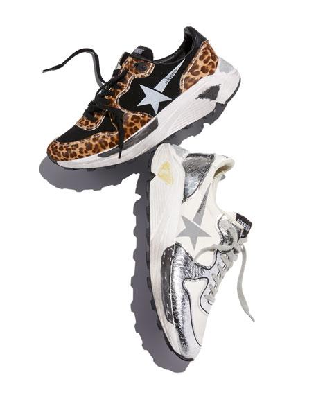 Golden Goose Leopard-Print Running Sneakers