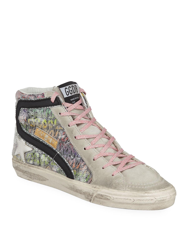 Top Sequin Sneakers Slide High Suede OiXuZPk