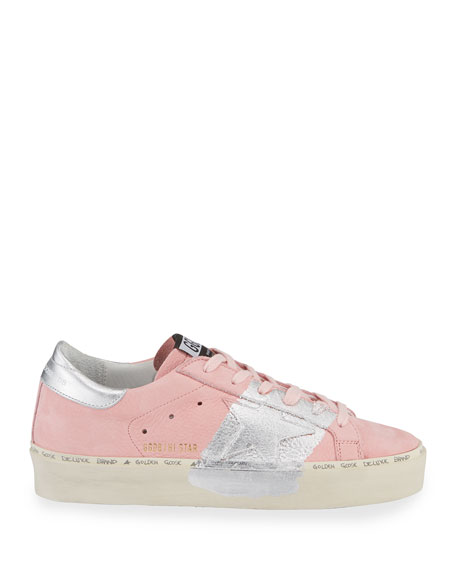 Image 2 of 3: Golden Goose Hi Star Metallic-Trim Leather Sneakers