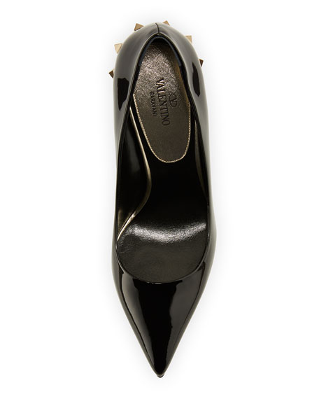 Valentino Garavani Jaw-Studs Point-Toe Patent Leather Pumps with Studded Sole
