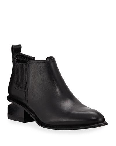 Kori Low-Heel Leather/Suede Booties