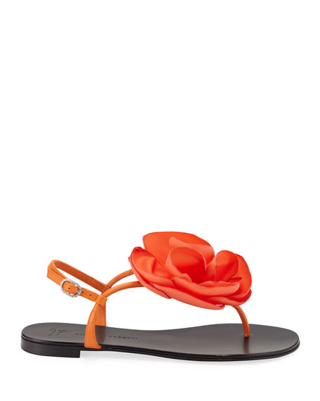Giuseppe Zanotti Leather Thong Sandal with Flower Detail