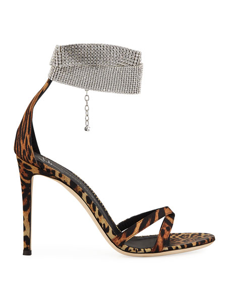 Image 2 of 3: Animal-Print Silk Sandals with Crystal Strap
