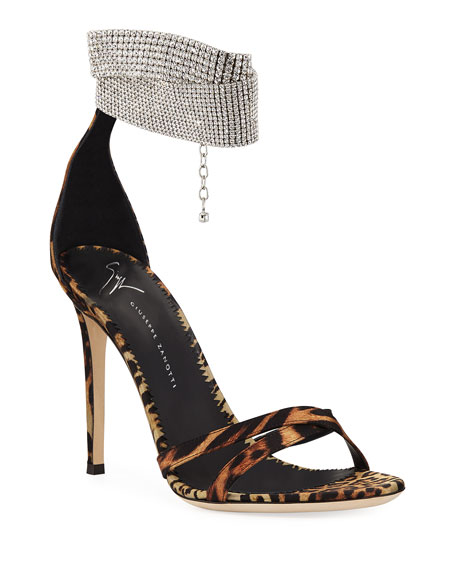 Image 1 of 3: Animal-Print Silk Sandals with Crystal Strap