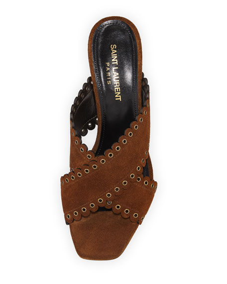 Saint Laurent Loulou Suede Slide Sandals with Eyelets
