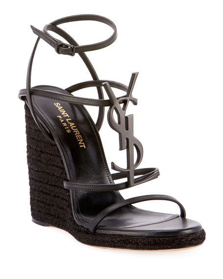 Saint Laurent Cassandra Wedge Espadrilles with Tonal YSL Logo