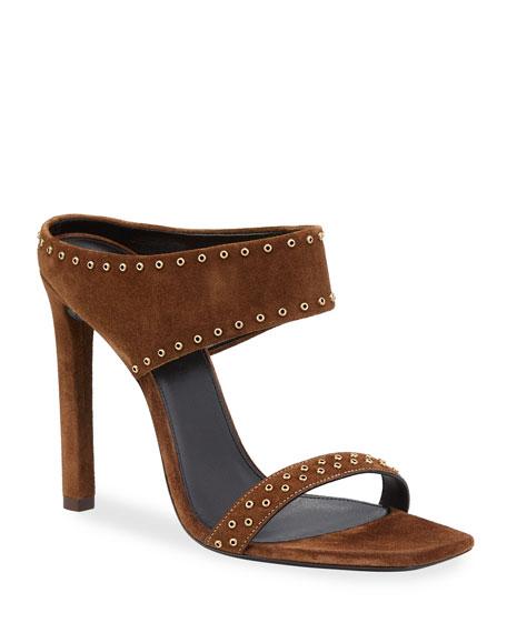 Saint Laurent Mica Studded Suede High-Heel Sandals