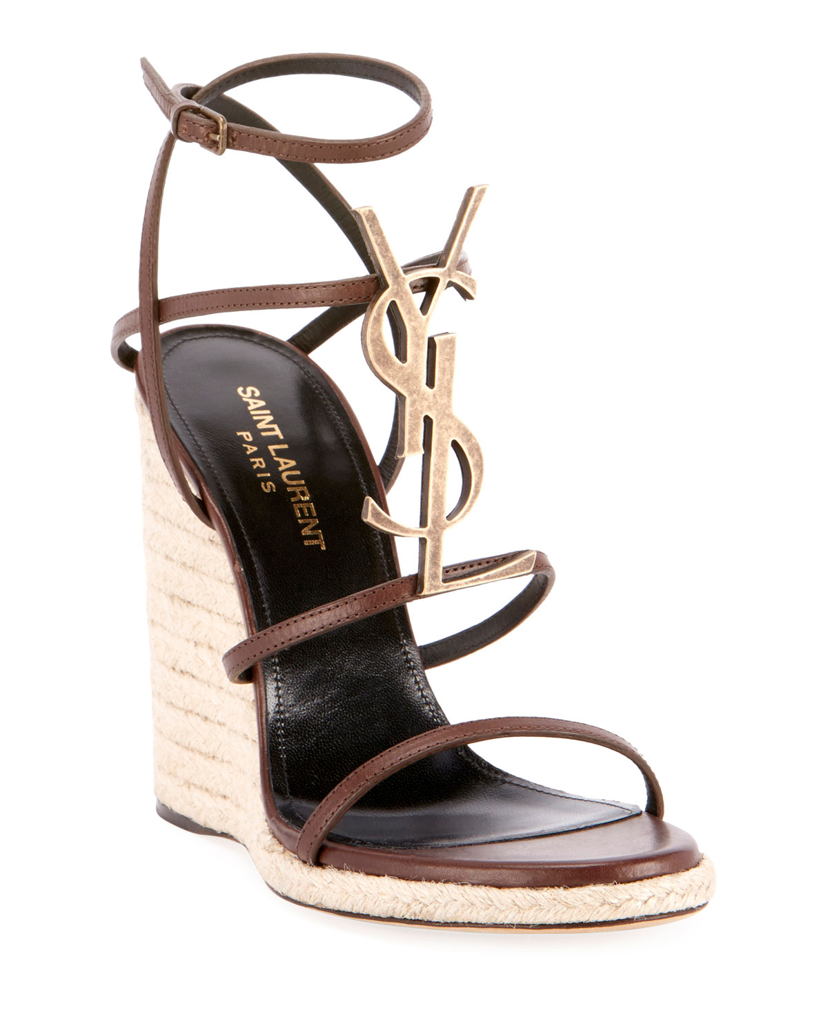 6d4599ee054 Cassandra Wedge Espadrilles with Golden YSL Logo