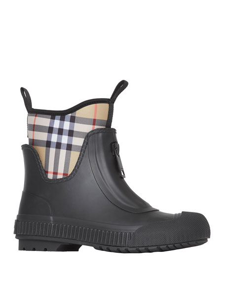 Image 1 of 4: Burberry Flinton Check Rain Booties