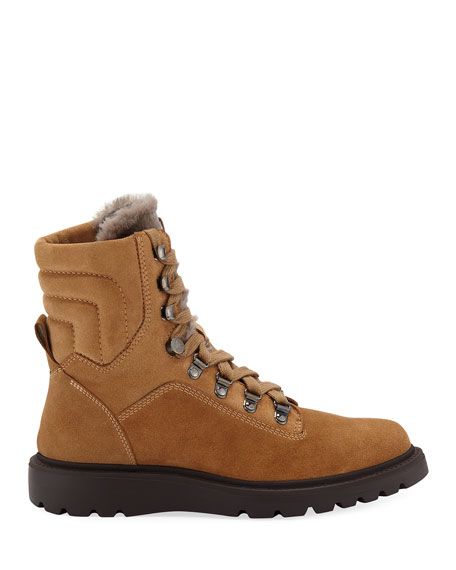 Aquatalia Christie Weatherproof Suede and Shearling Boots