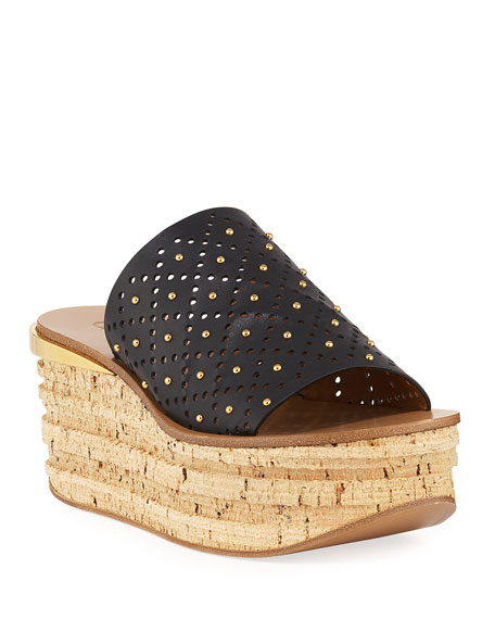Chloe Camille Perforated Stud Slide Sandals