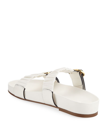 Stuart Weitzman Shalene Buckled Leather Slide Sandals