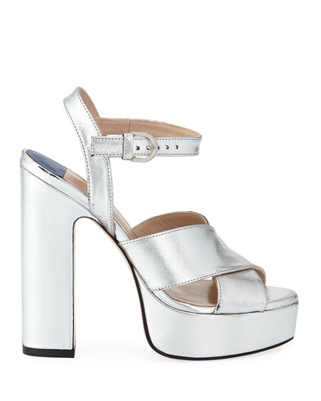 Image 3 of 4: Joni Metallic Platform Sandals