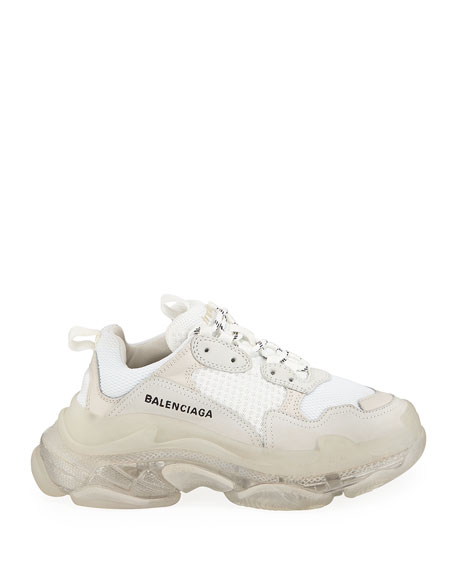 Balenciaga Triple S Air Nylon Sneakers with Logo, Blanc