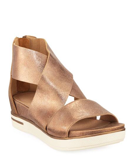 Eileen Fisher Sport Metallic Leather Platform Sandals