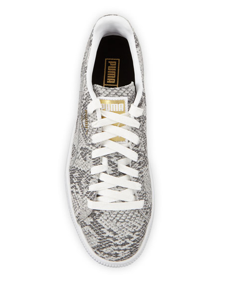Puma Clyde Snake-Print Leather Lace-Up Sneakers