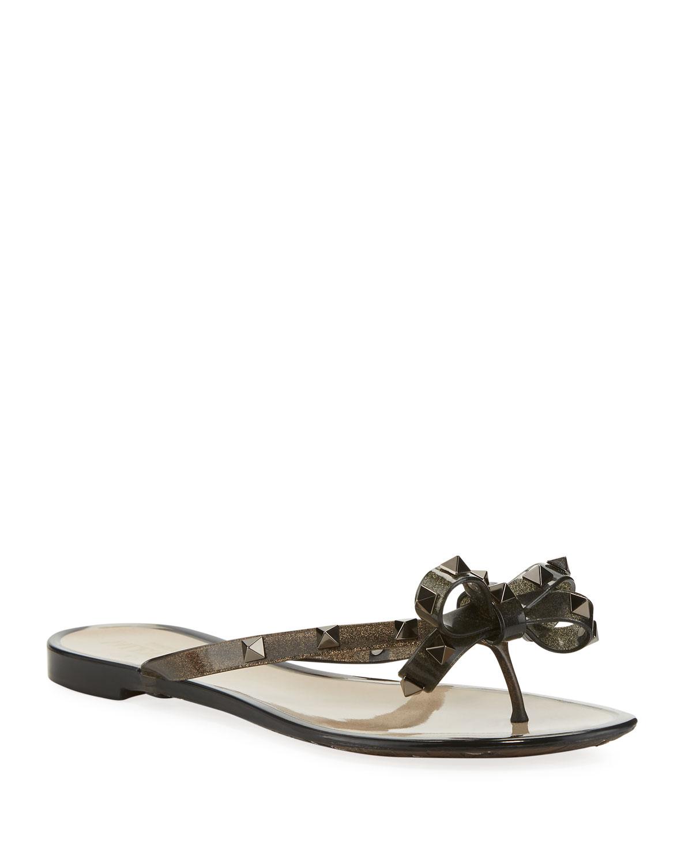6d9278087 Valentino Garavani Rockstud Flat Jelly Thong Sandals