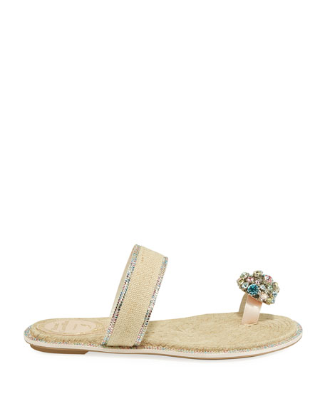 Rene Caovilla Jeweled Flat Toe-Ring Slide Sandals