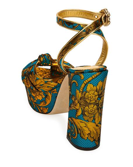 Dolce & Gabbana Floral Jacquard Platform Sandals