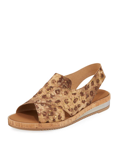 Sabita Comfort Cork-Print Leather Slingback Sandals