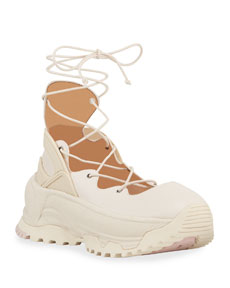 Coach Lace-Up Chunky Leather Ballerina