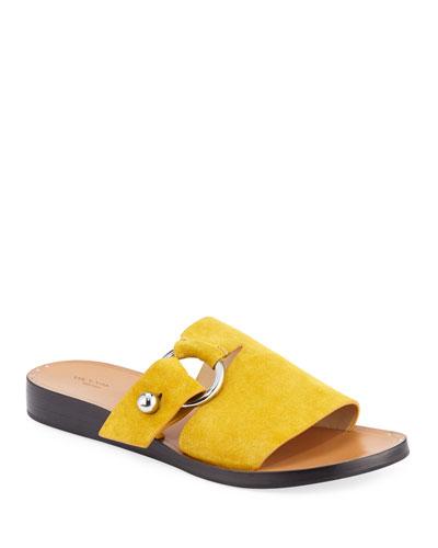 Arc Flat Suede Slide Sandals