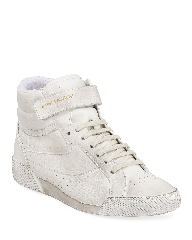 cc78ace0774 Saint Laurent Lenny Leather High-Top Sneakers | Neiman Marcus