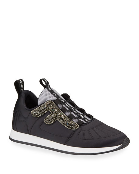 Freedom Stretch Sneakers With Crystals by Fendi