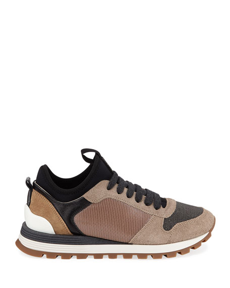 Brunello Cucinelli Monili Beaded Suede Lace-Up Sneakers