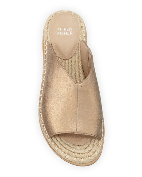 Eileen Fisher Milly Metallic Leather Espadrille Sandals