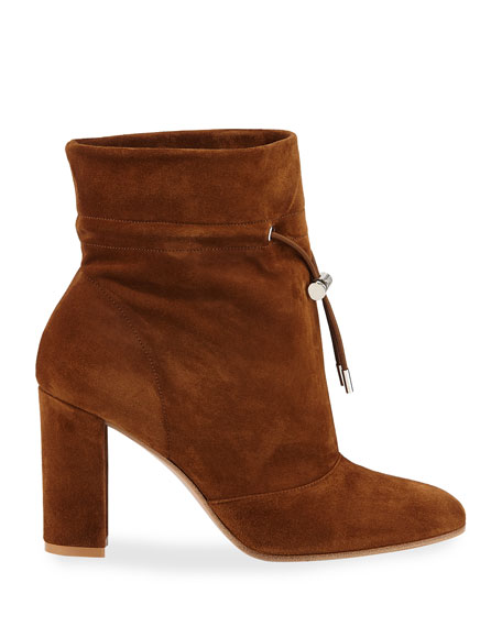 Image 2 of 3: Gianvito Rossi Suede Chunky-Heel Booties