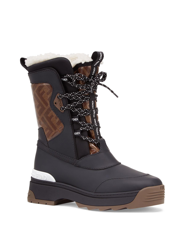 Fendi FF Shearling Snow Boots   Neiman