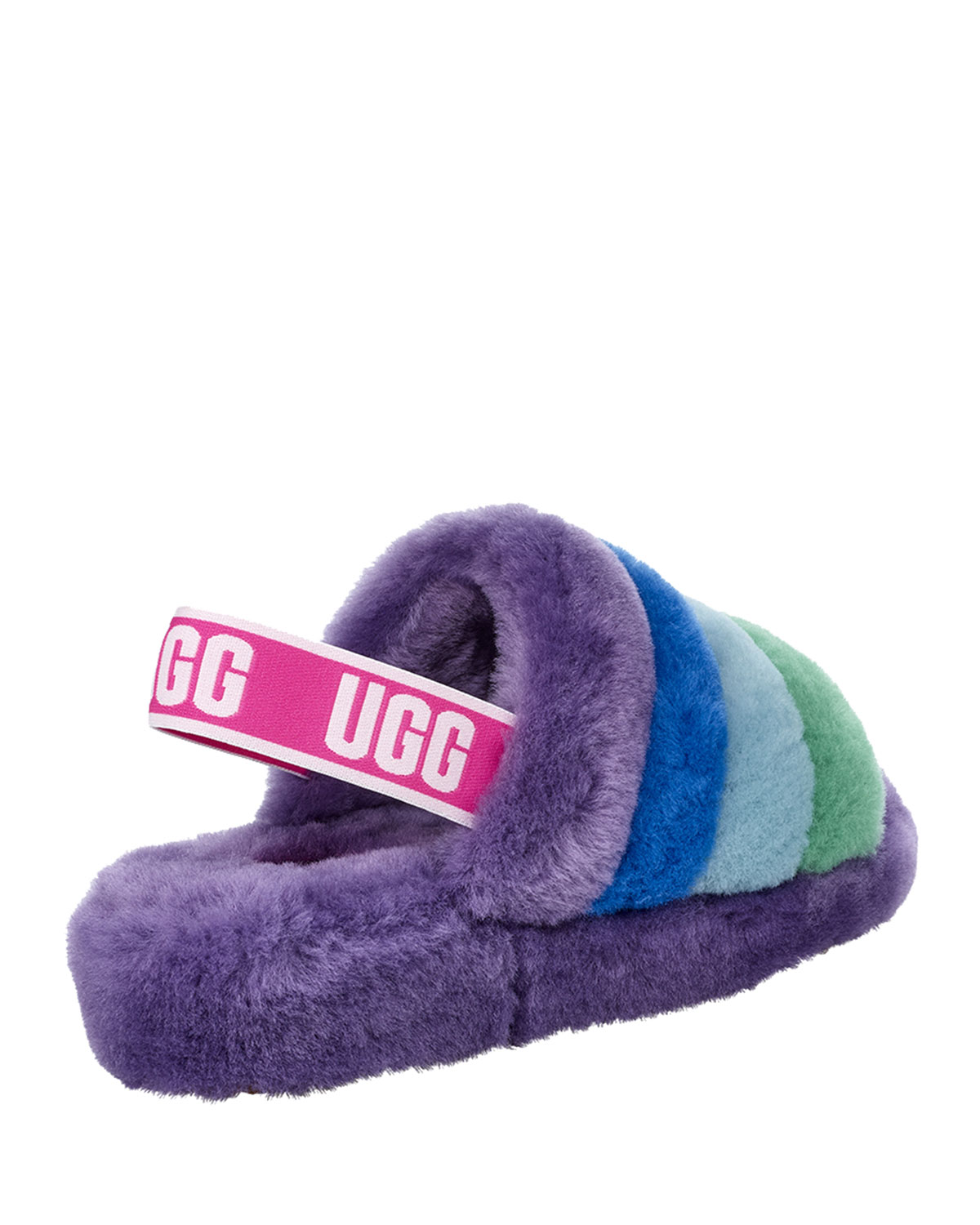 0ba96608ca2 x Born This Way Foundation Pride Fluff Yeah Rainbow Shearling Sandal  Slippers