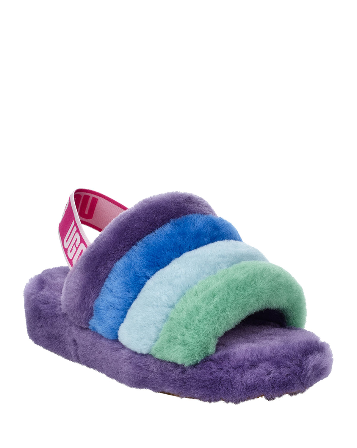 32360f4e0ed x Born This Way Foundation Pride Fluff Yeah Rainbow Shearling Sandal  Slippers