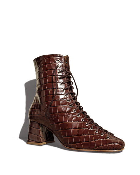 BY FAR Becca Crocodile-Embossed Booties