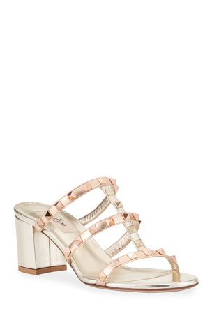 Valentino Garavani Rockstud Caged Leather Slide Sandals