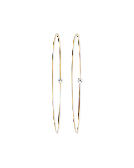 Large Magic Diamond Hoops, Yellow Gold
