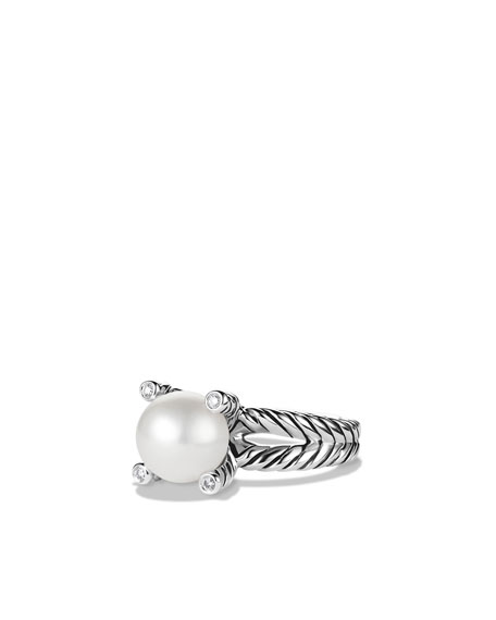 Image 1 of 5: David Yurman Cable Pearl Ring with Diamonds