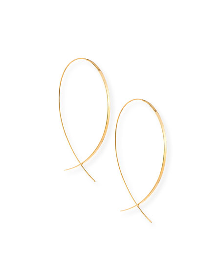 Flat Upside-Down Hoop Earrings, Yellow Gold