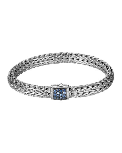 John Hardy Classic Chain 7.5mm Medium Braided Silver Bracelet, Blue Sapphire