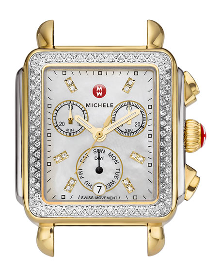 MICHELE 18mm Deco Diamond Watch Head, Two-Tone