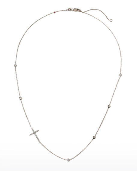 Roberto Coin Integrated Diamond Cross Necklace, White Gold