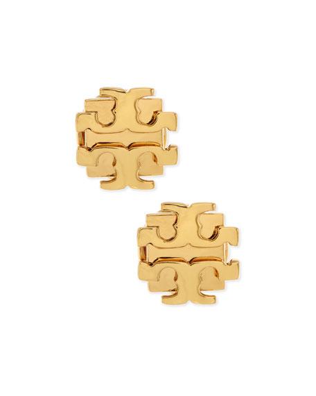 Small T-Logo Stud Earrings, Golden