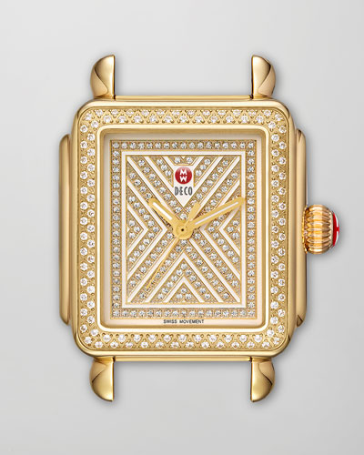 MICHELE Limited Edition Deco Diamond-Dial Watch Head, Gold