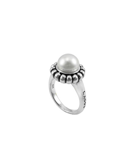 Luna Fluted Pearl Caviar Ring, 9mm