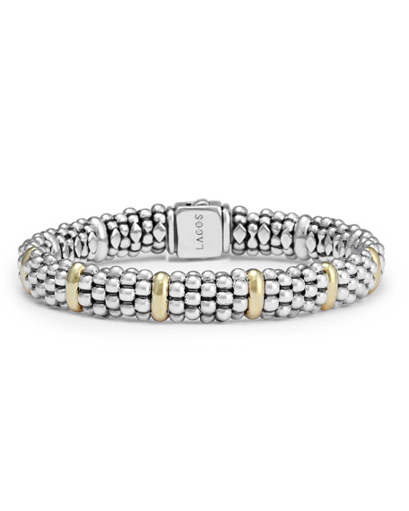 Sterling Silver Caviar Rope Bracelet with 18k Gold