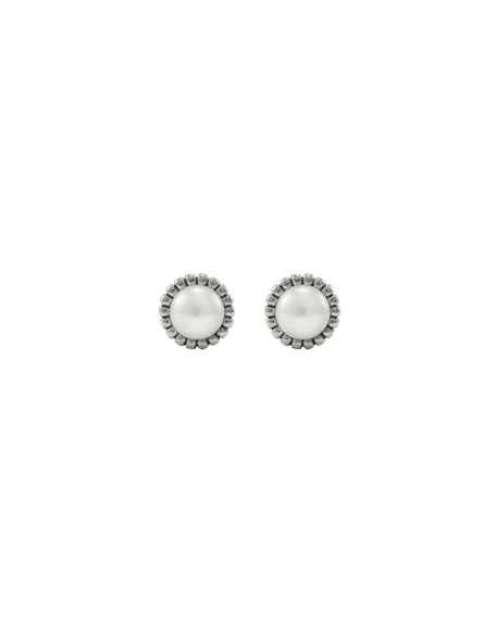 Image 2 of 3: Lagos Fluted Pearl Stud Earrings, 12mm